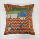 (no pattern backside) snip snap SATOYAMA cushion cover | weasel red裏面無地