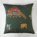 (no pattern backside) snip snap SATOYAMA cushion cover | bear green裏面無地