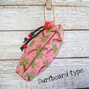 サーフボード型ミニポーチ(ヤシの木ピンク)