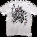 T-shirts men ushiwakamaru and Benkei white Japanese sumi-e Art