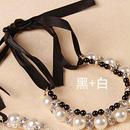 ネックレス パール & ビジュー リボン ホワイト×ブラック
