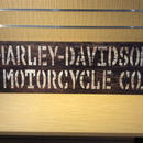 Printed H-D Script Stencil & Studded Wooden Sign