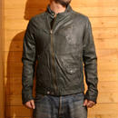 40% OFF SSDD RIDERS LEATHER JACKET GREEN[#7509]