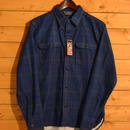 L/S PRINT CHECK FLANNEL SHIRT BLUE