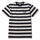 CUTRATE S/S BORDER  T-SHIRT  WHITE CR-16ST030