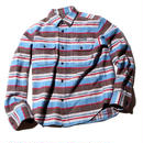 L/S BORDER HEAVY FLANNEL SHIRT BLUE[CR-15AW053]