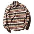L/S BORDER HEAVY FLANNEL SHIRT BROWN[CR-15AW053]