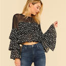 Mesh Shoulder Floral Blouse