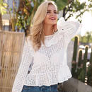 Hollow Out White Blouse