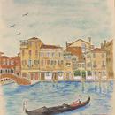 「午後のヴェネツィア」色紙にテンペラ画