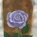 「青いバラ」画用紙にテンペラ画