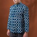 Indigo shirt:men's  (diamonds dots/stand coller)