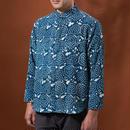 Indigo shirt:men's (drop flower/stand coller)