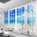 3D 壁紙 玄関用 1ピース 1㎡ 窓からの景色 青い海 かもめ インテリア 装飾 部屋 耐水 防湿 耐衝撃 騒音吸収 h02709