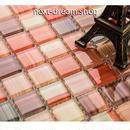 3D壁紙 30×30cm 11枚セット クリスタルガラス ピンクオレンジ DIY リフォーム インテリア 部屋/浴室/トイレにも h04478