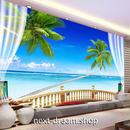 3D 壁紙 1ピース 1㎡ 自然風景 ベランダからの景色 海 ヤシの木 インテリア 装飾 寝室 リビング h02264