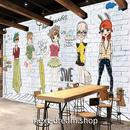 3D 壁紙 1ピース 1㎡ ファッションポスター 白レンガ アニメ インテリア 部屋装飾 耐水 防湿 防音 h02887