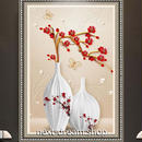 3D 壁紙 玄関用 1ピース 1㎡ 梅の花 蝶々 花瓶 インテリア 装飾 部屋 耐水 防湿 耐衝撃 騒音吸収 h02792