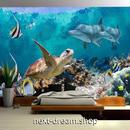 3D 壁紙 1ピース 1㎡ 海中 いるか 子供部屋 ウミガメ  インテリア 装飾 寝室 リビング 耐水 防湿 h02584