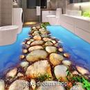 3D 壁紙 1ピース 1㎡ 床用 自然風景 川 石の道 DIY リフォーム インテリア 部屋 寝室 防湿 防音 h03433