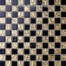 3D壁紙 30×30cm 11枚セット タイル 黒×金 チェスボード DIY リフォーム インテリア 部屋/浴室/トイレにも h04444