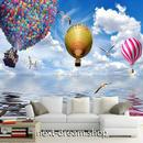 3D 壁紙 1ピース 1㎡ 自然風景 海 空 カモメ 気球 インテリア 装飾 寝室 リビング h02253