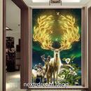 3D 壁紙 玄関用 1ピース 1㎡ 星空 鹿 アニメ画 インテリア 装飾 部屋 耐水 防湿 耐衝撃 騒音吸収 h02777