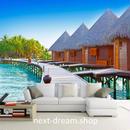 3D 壁紙 1ピース 1㎡ 自然風景 南国 空 家 桟橋 ヤシの木 インテリア 装飾 寝室 リビング h02236