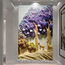 3D 壁紙 玄関用 1ピース 1㎡ 立体アート 森 鹿 インテリア 装飾 部屋 耐水 防湿 耐衝撃 騒音吸収 h02765