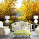 3D 壁紙 1ピース 1㎡ 自然風景 木々 紅葉 溜池 インテリア 装飾 寝室 リビング 耐水 防カビ h02369