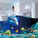 3D 壁紙 1ピース 1㎡ 床用 自然風景 熱帯魚 いるか DIY リフォーム インテリア 部屋 寝室 防湿 防音 h03578