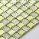 3D壁紙 30×30cm 11枚セット クリスタルガラス 黄緑 格子 DIY リフォーム インテリア 部屋/浴室/トイレにも h04456