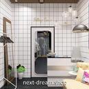 壁紙 60×500cm 正方形タイル 白黒 ホワイト  DIY リフォーム インテリア キッチン/トイレ/浴室にも 防水 PVC h04018