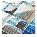 3D壁紙 30×30cm 11枚セット クリスタルガラス 青 茶色 DIY リフォーム インテリア 部屋/浴室/トイレにも h04541