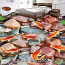3D 壁紙 1ピース 1㎡ 床用 自然風景 川 コイ 蓮 DIY リフォーム インテリア 部屋 寝室 防湿 防音 h03462