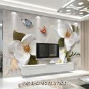 3D 壁紙 1ピース 1㎡ 白い花 蝶々 立体アート DIY リフォーム インテリア 部屋 寝室 防湿 防音 h03181