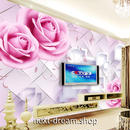 3D 壁紙 1ピース 1㎡ ヨーロッパスタイル ピンク 薔薇 インテリア 部屋装飾 耐水 防湿 防音 h02904