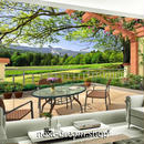 3D 壁紙 1ピース 1㎡ 自然風景 テラスからの景色 公園 インテリア 装飾 寝室 リビング 耐水 防カビ h02451