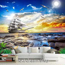 3D 壁紙 1ピース 1㎡ 自然風景 海 カモメ 船 太陽 夕焼け インテリア 装飾 寝室 リビング h02275