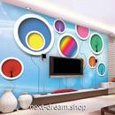 3D 壁紙 1ピース 1㎡ 立体アート 風船 レインボー インテリア 部屋 寝室 リビング 防湿 防音 h03069