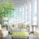 3D 壁紙 1ピース 1㎡ 窓からの景色 空と雲 観葉植物 インテリア 部屋装飾 耐水 防湿 防音 h02892