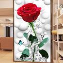3D 壁紙 玄関用 1ピース 1㎡ 実物フォト ローズ 赤い薔薇 蝶々 インテリア 装飾 部屋 耐水 防湿 耐衝撃 騒音吸収 h02734