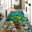 3D 壁紙 1ピース 1㎡ 床用 自然風景 熱帯魚 ウミガメ DIY リフォーム インテリア 部屋 寝室 防湿 防音 h03588