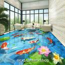 3D 壁紙 1ピース 1㎡ 床用 自然風景 川 コイ 蓮 DIY リフォーム インテリア 部屋 寝室 防湿 防音 h03487