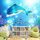 3D 壁紙 1ピース 1㎡ 子供部屋 アニメ画 いるか 海 インテリア 装飾 寝室 リビング 耐水 防湿 h02536
