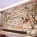 3D 壁紙 1ピース 1㎡ 石レンガ 北欧モダン 枯れ木 鹿 インテリア 部屋 寝室 リビング 防湿 防音 h03000