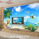 3D 壁紙 1ピース 1㎡ 自然風景 青い海 空 ハート形の雲 インテリア 装飾 寝室 リビング h02243