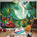 3D 壁紙 1ピース 1㎡ 子供部屋 不思議な国 キノコの森 インテリア 装飾 寝室 リビング 耐水 防湿 h02538