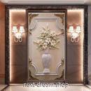 3D 壁紙 玄関用 1ピース 1㎡ 百合 花瓶 インテリア 装飾 部屋 耐水 防湿 耐衝撃 騒音吸収 h02710