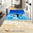 3D 壁紙 1ピース 1㎡ 床用 自然風景 ビーチ いるか DIY リフォーム インテリア 部屋 寝室 防湿 防音 h03471